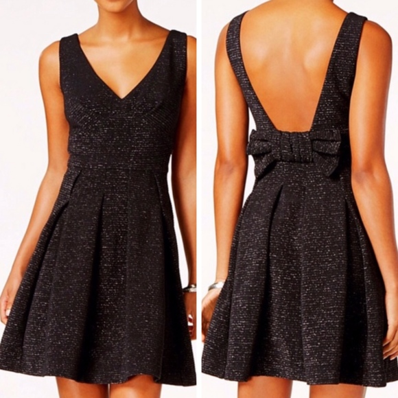 adc56ff1d6f1c Betsey Johnson Dresses & Skirts - Betsey Johnson 12 Dress Black Metallic  Bow Back